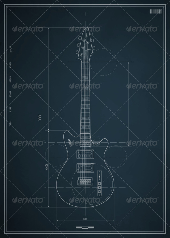 Blueprint electric guitar with the dimensions by fet | GraphicRiver