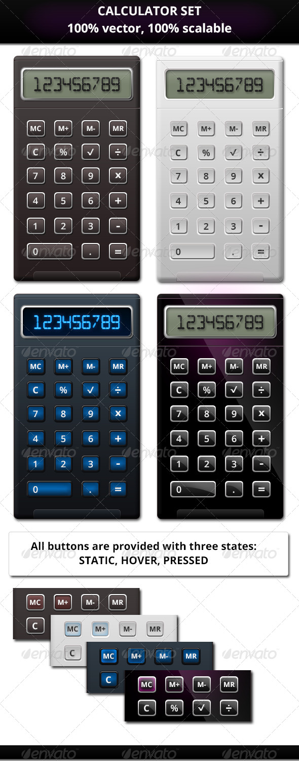 Calculator Set - User Interfaces Web Elements