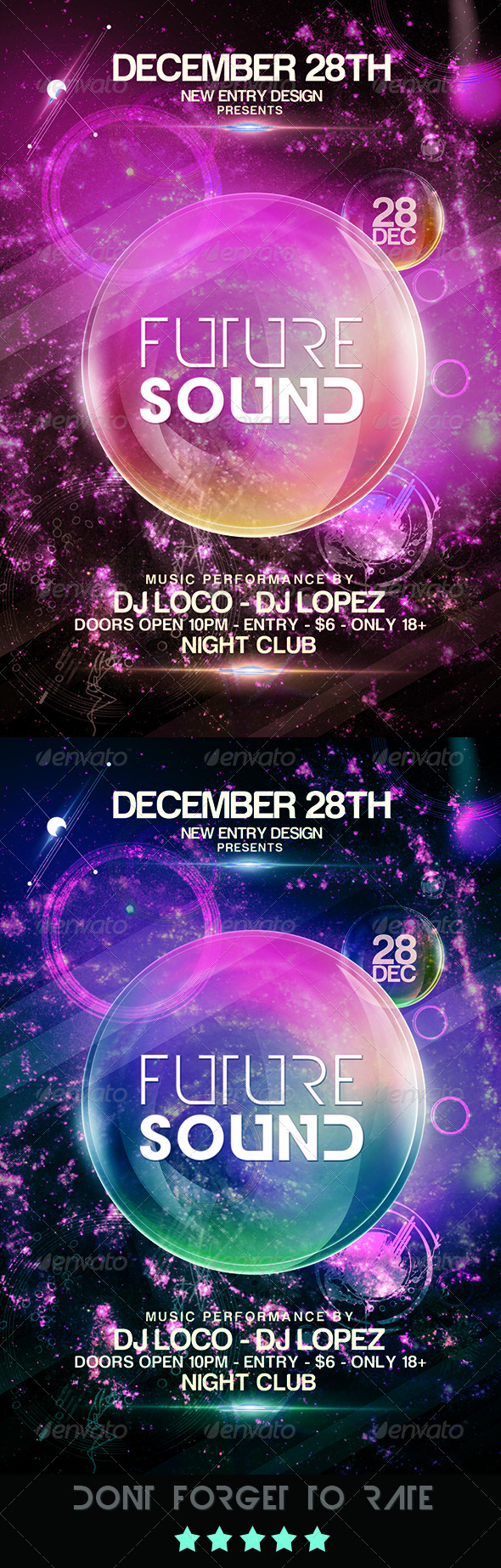 Futuristic Space Flyer Template  - Clubs & Parties Events