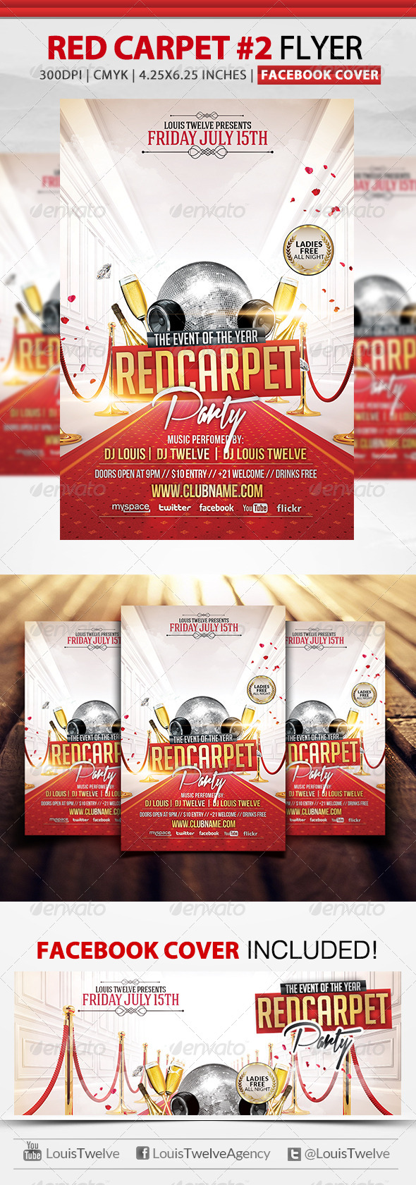 Red Carpet Party 2 | Flyer + Facebook Cover - Clubs & Parties Events