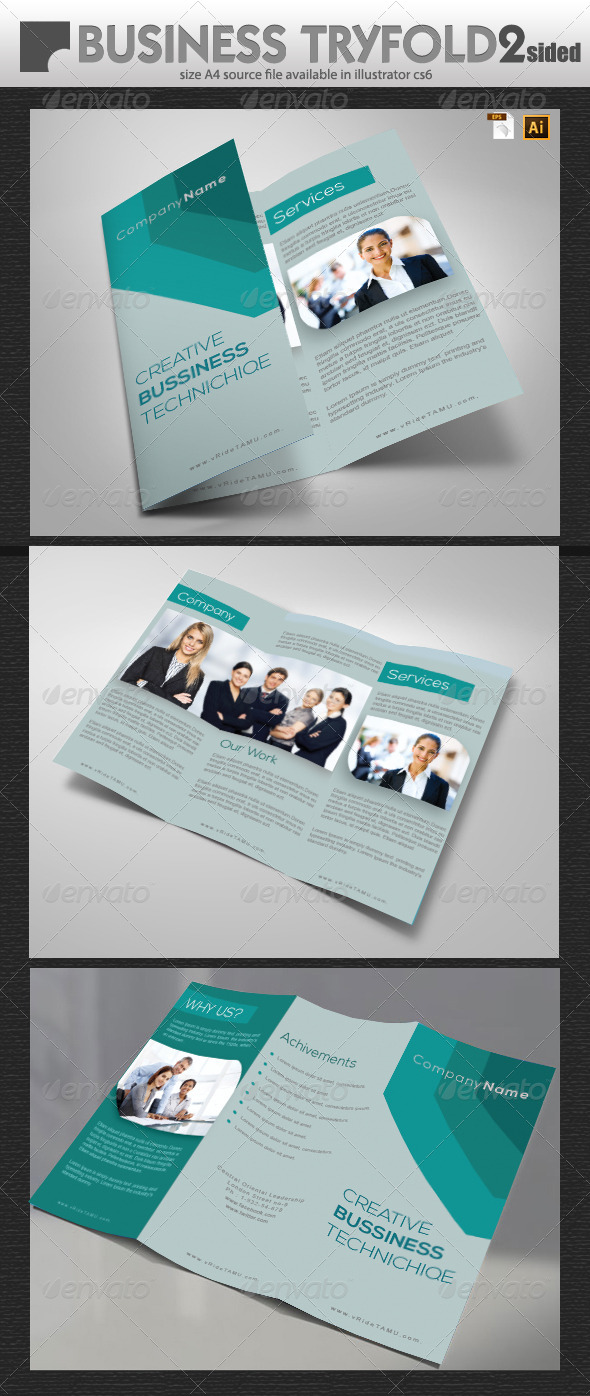 Business Tri-Fold Design  - Brochures Print Templates