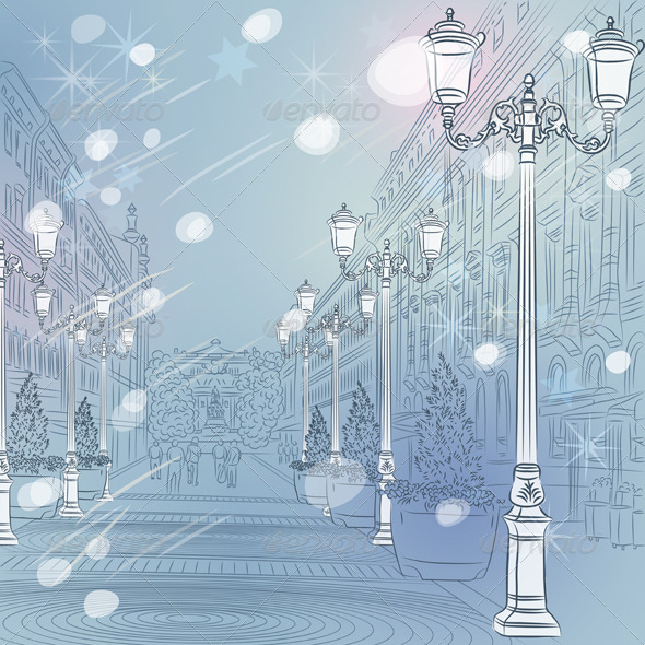 Vector Winter Christmas Cityscape in St. Petersburg - Buildings Objects