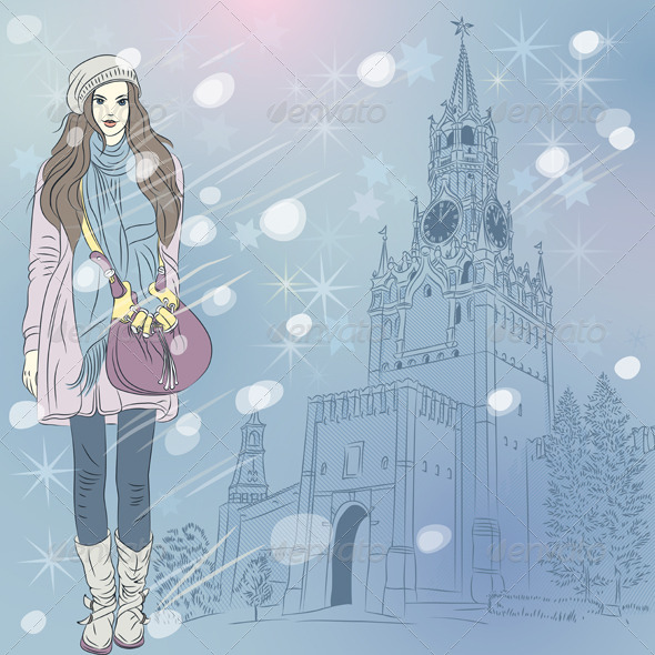 Vector Christmas Cityscape with Fashion Girl in Moscow - Man-made Objects Objects