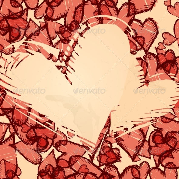 Grunge Heart Background. - Valentines Seasons/Holidays