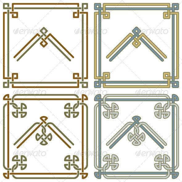 Celtic Knot Corner Patterns 3 - Borders Decorative