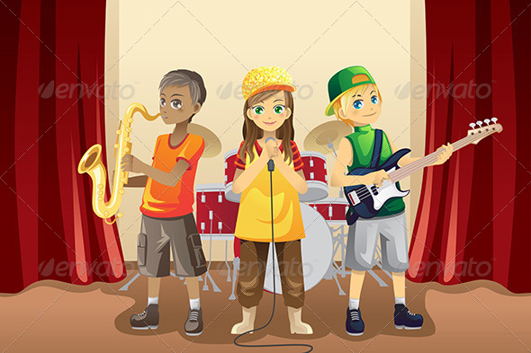 Little Kids in Music Band - People Characters
