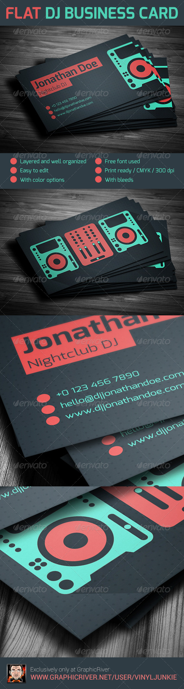 Flat DJ Business Card By Vinyljunkie GraphicRiver - Free dj business card template