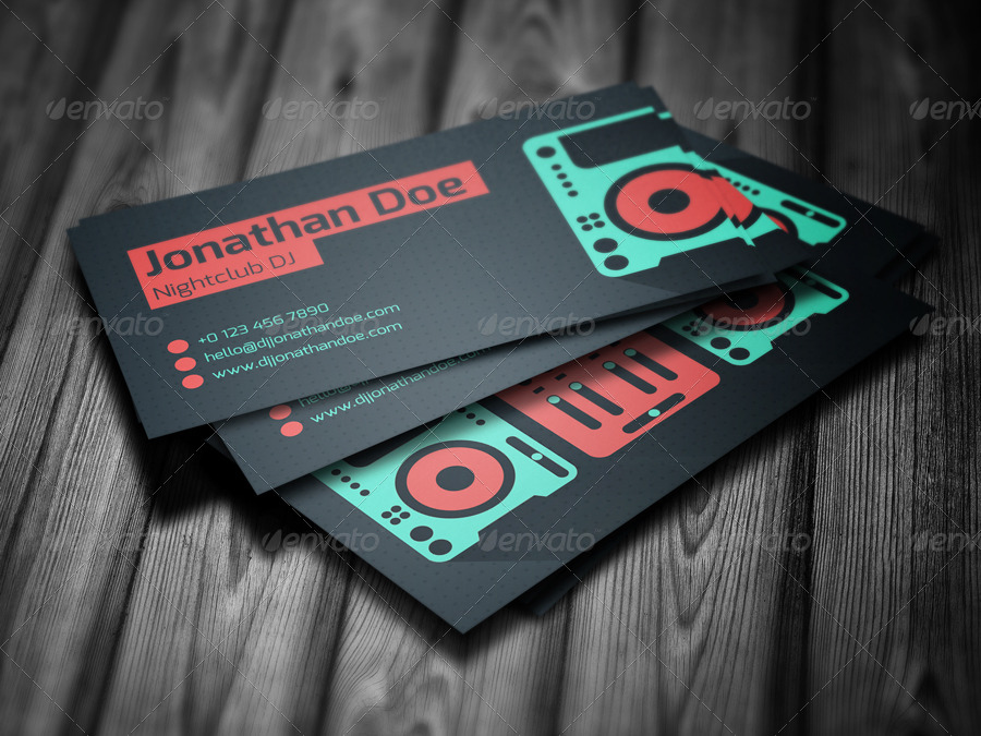 Flat DJ Business Card By Vinyljunkie GraphicRiver - Dj business card template