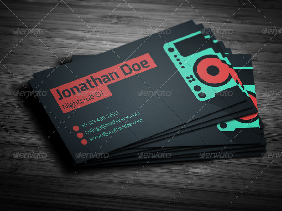 flat dj business card industry specific business cards 01_flat_dj_card_previewjpg - Dj Business Cards