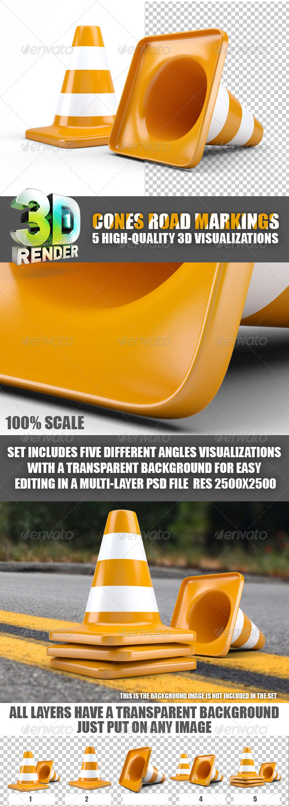 Cones Road Markings - Objects 3D Renders