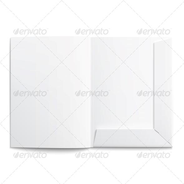 White Empty Open Folder - Man-made Objects Objects