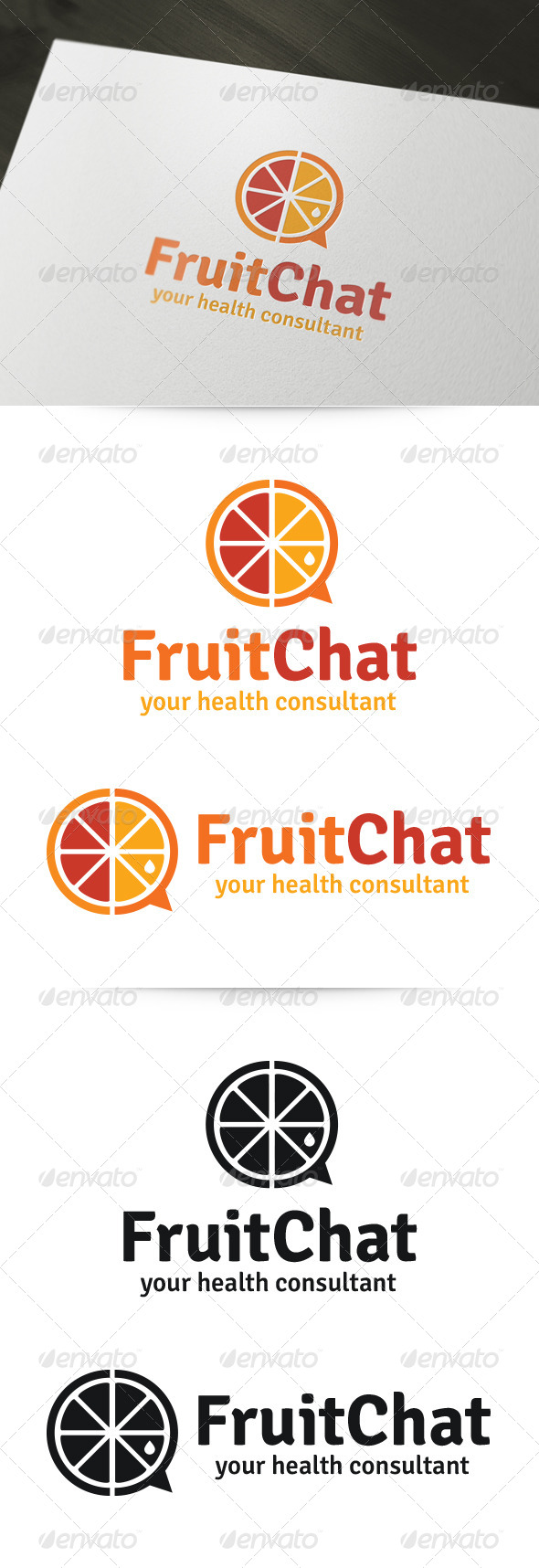Fruit Chat Logo - Food Logo Templates