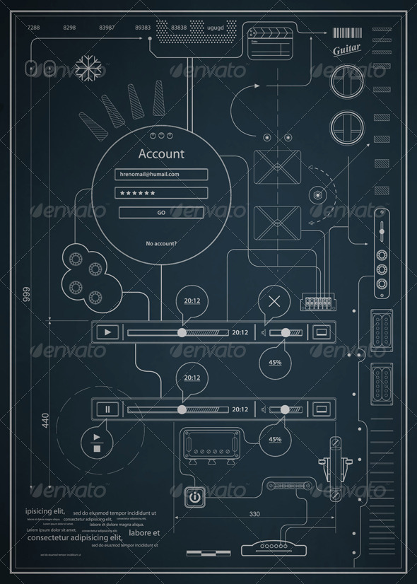 blueprint infographics drawing a schematic abstrac by fet