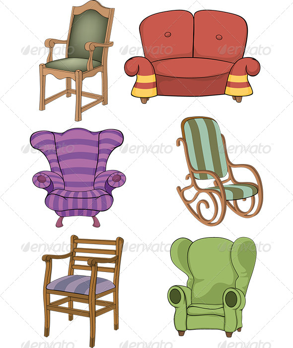 Set of Chairs and Armchairs  - Objects Vectors