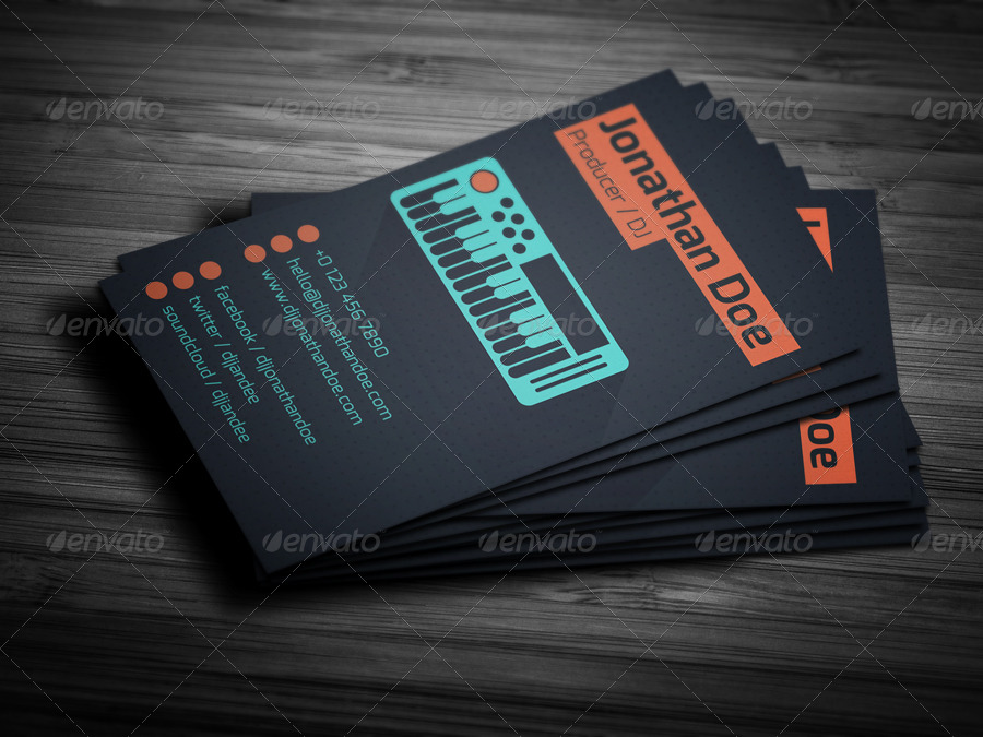 Flat Producer Dj Business Card By Vinyljunkie Graphicriver