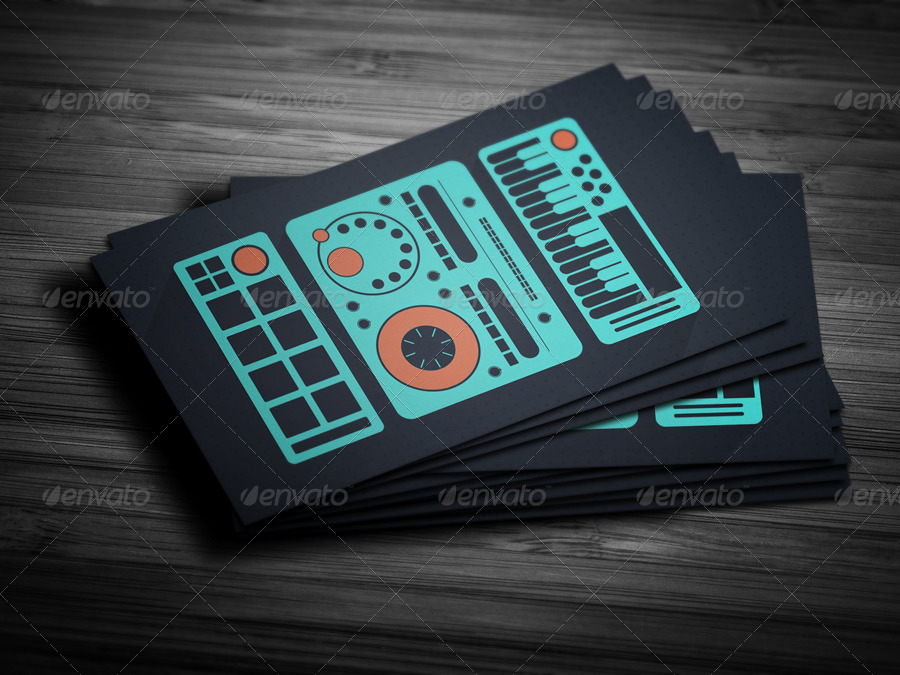 Flat Producer / DJ Business Card by vinyljunkie | GraphicRiver