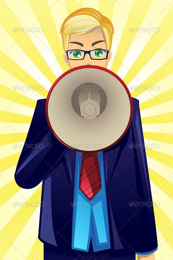 Businessman Holding Megaphone - Business Conceptual