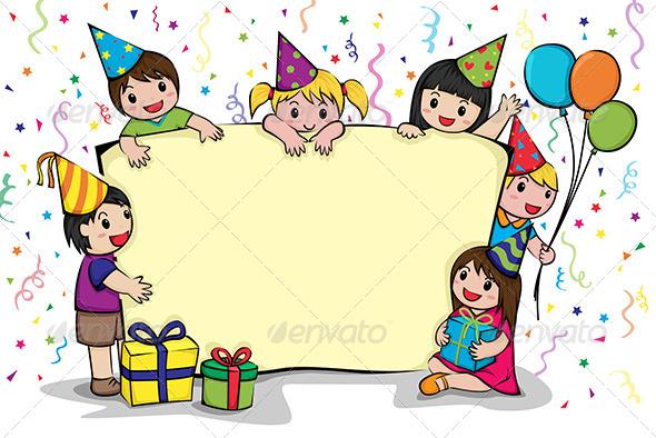 Birthday Party Invitation - Decorative Vectors