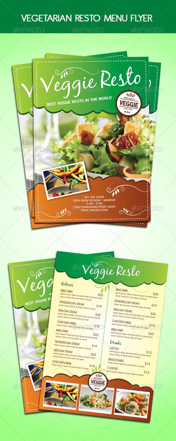 Vegetarian Resto Menu Flyer - Food Menus Print Templates