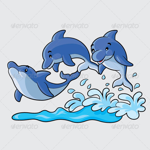 Dolphins Cartoon - Animals Characters