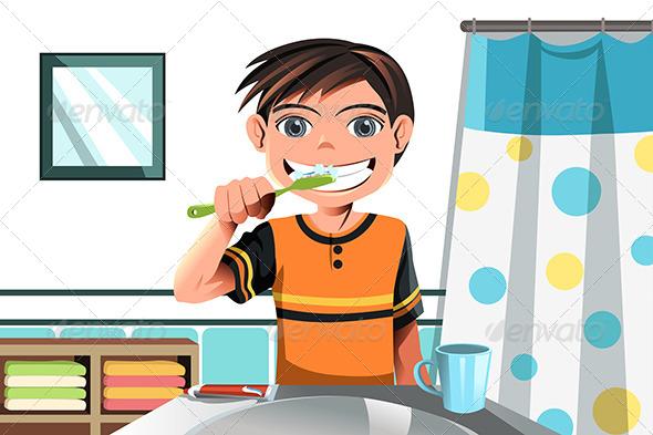 Boy Brushing his Teeth - People Characters