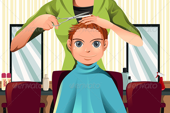 Boy getting a Haircut - People Characters