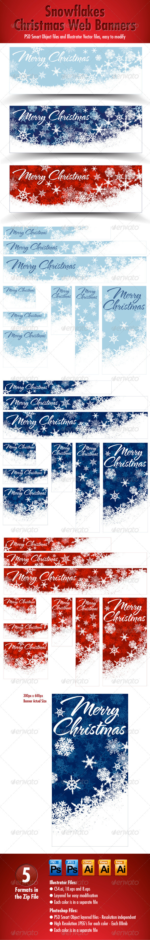 Snowflakes Christmas Web Banners - Three Colors - Web Elements Vectors