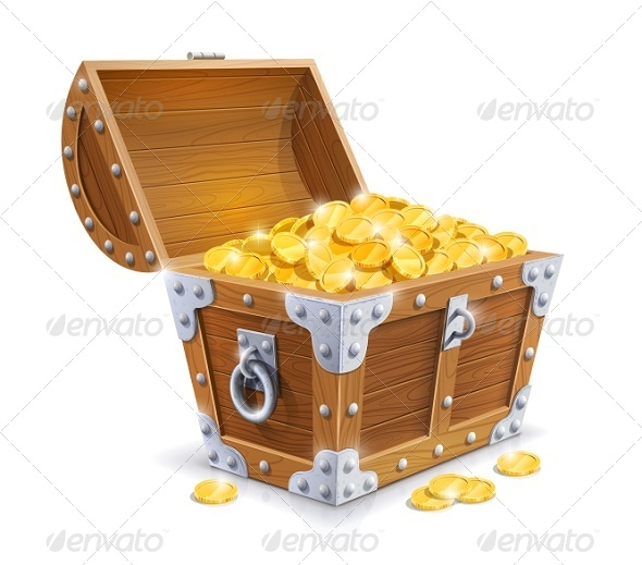 Vintage Wooden Chest with Golden Coin - Man-made Objects Objects