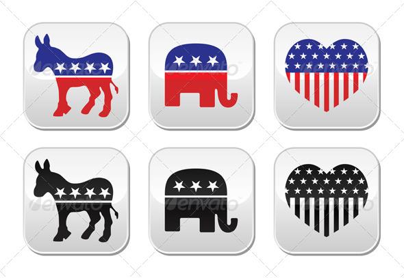 USA Political Parties Buttons - Decorative Symbols Decorative