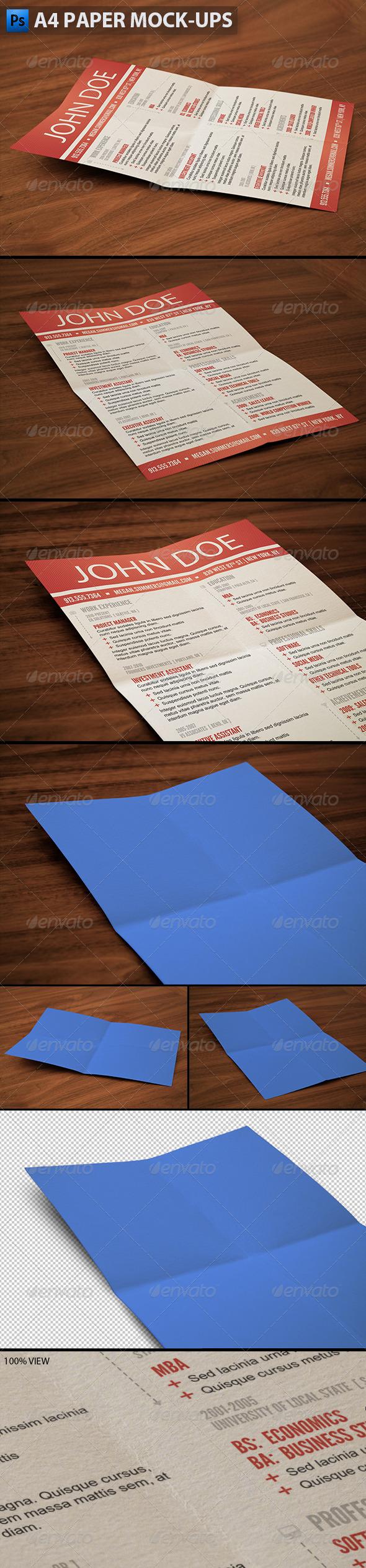 A4 Paper Mock-ups - Print Product Mock-Ups