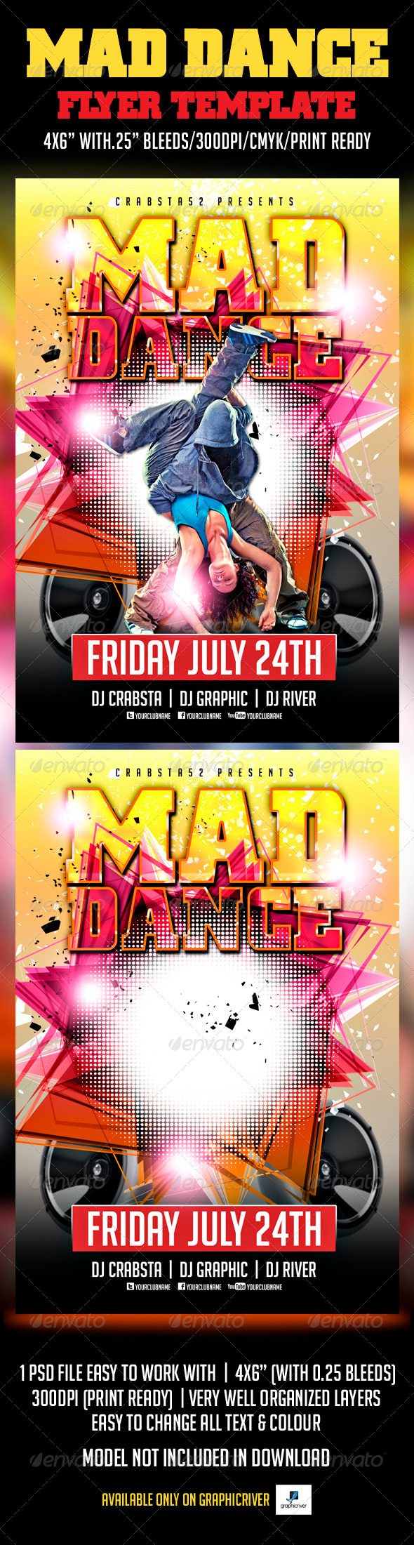 Mad Dance Flyer Template  - Clubs & Parties Events