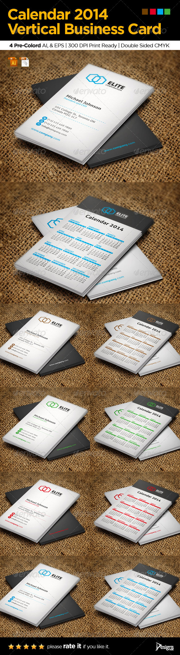 Calendar 2014 Vertical Business Card - Creative Business Cards