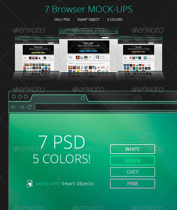 7 Flat Transparent Holographic Browser Mock-Ups - Website Displays
