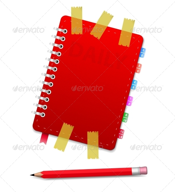 Personal Organizer with Scotch and Red Pencil - Man-made Objects Objects