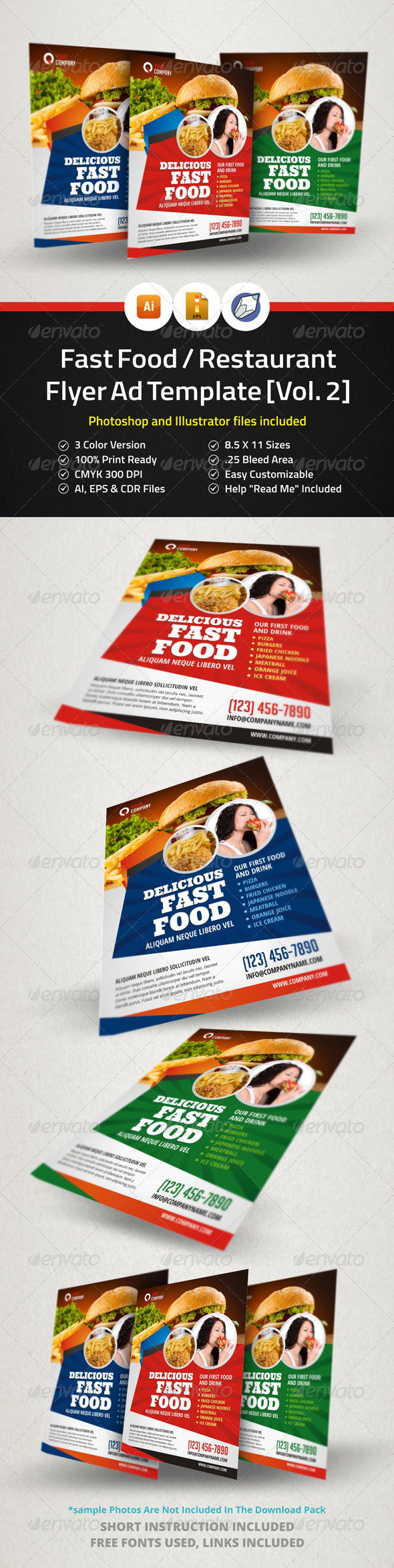 fast food restaurant flyer ad template vol 2 by jbn comilla graphicriver. Black Bedroom Furniture Sets. Home Design Ideas