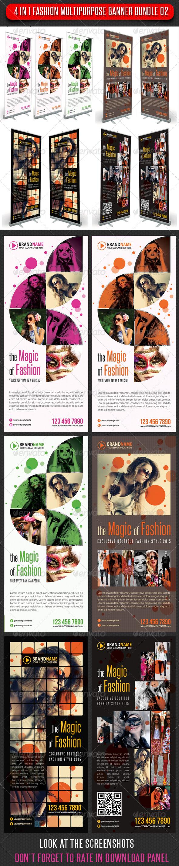 4 in 1 Fashion Multipurpose Banner Bundle 02 - Signage Print Templates