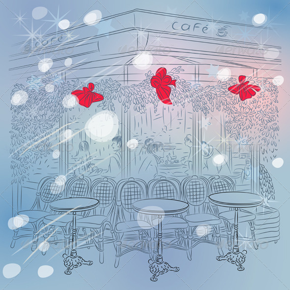 Christmas Winter Sketch of Parisian Cafe - Buildings Objects