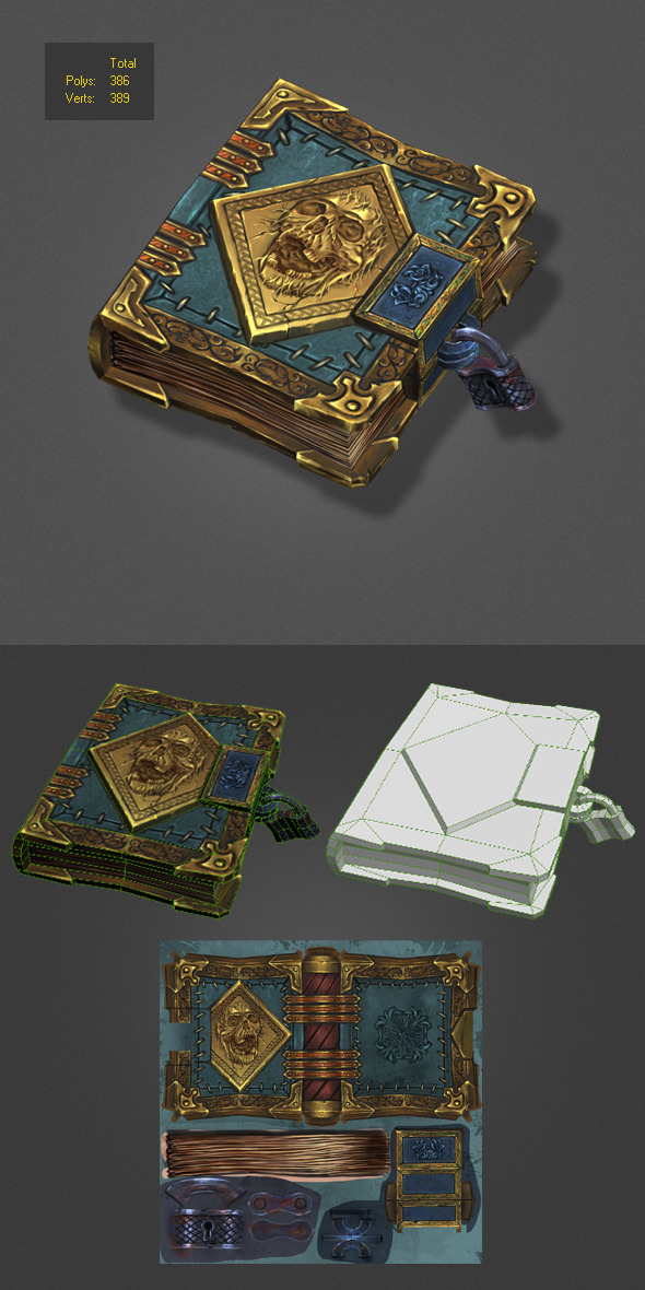 low poly magic book - 3DOcean Item for Sale