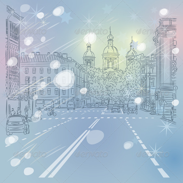 Vector Cityscape Avenue with Church in St. Petersburg - Buildings Objects