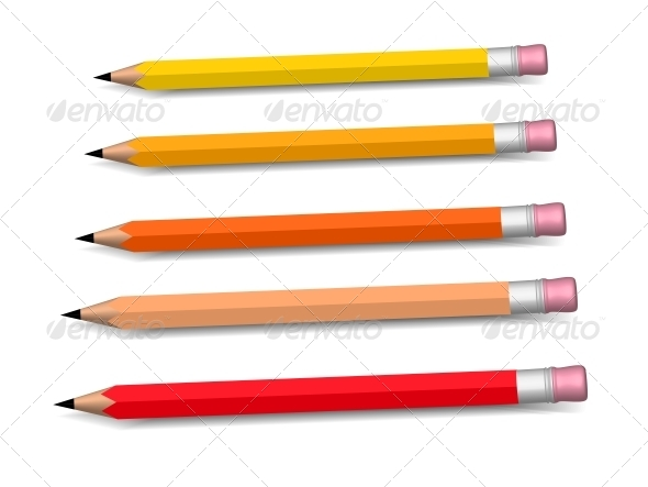 Multicolored Pencils Growing Row - Man-made Objects Objects
