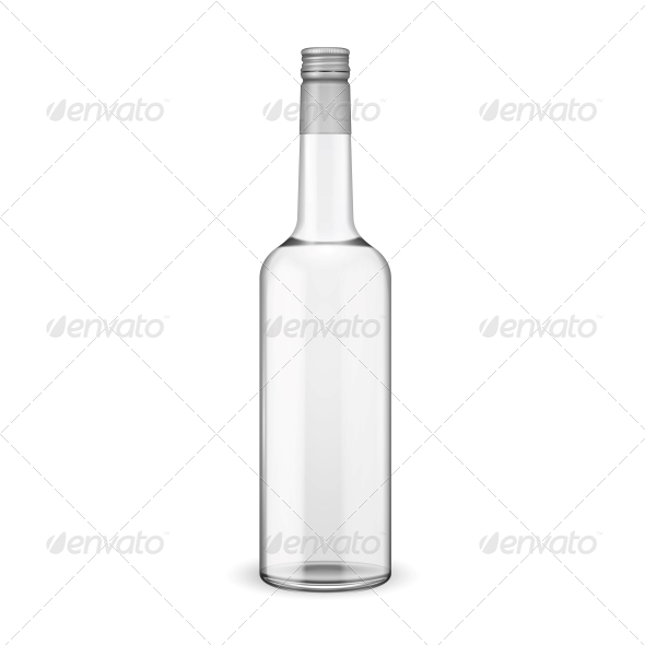 Glass Vodka Bottle with Screw Cap - Food Objects