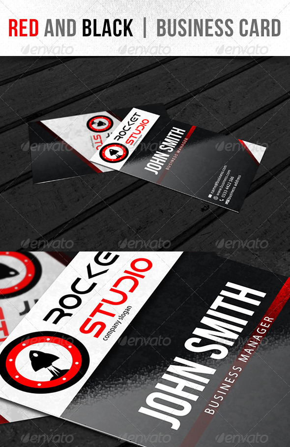 Red and Black - Business Card - Business Cards Print Templates