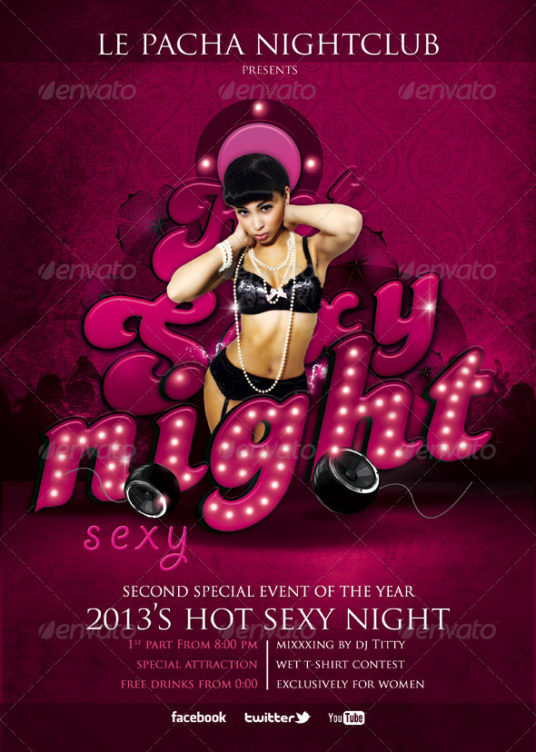 flyer hot sexy night club clubs parties events