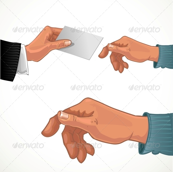 Male Hand Passing Business Card  - Abstract Conceptual