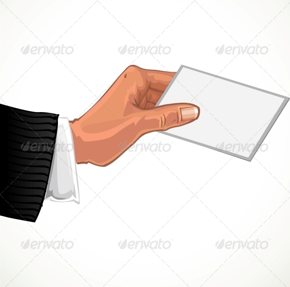 Male Hand with Business Card - Abstract Conceptual