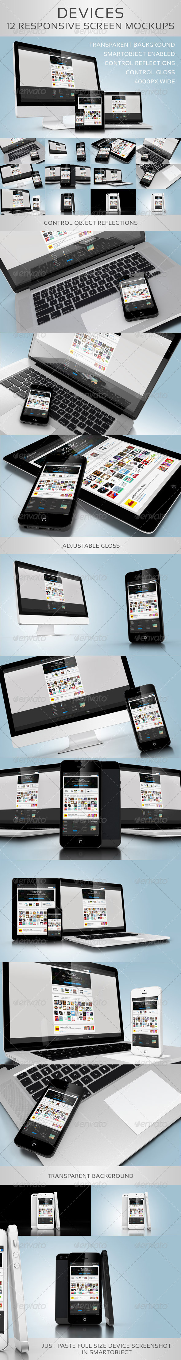 Devices - 12 Responsive Screen Mockups - Multiple Displays