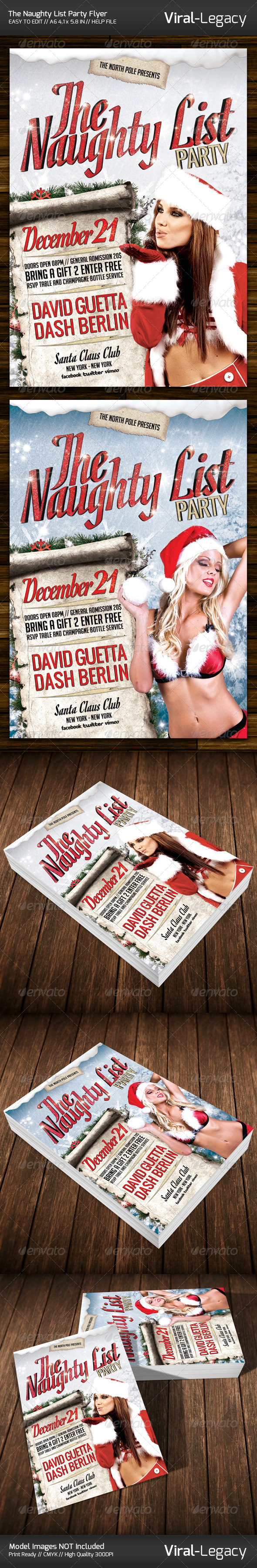 The Naughty List Party Flyer - Flyers Print Templates