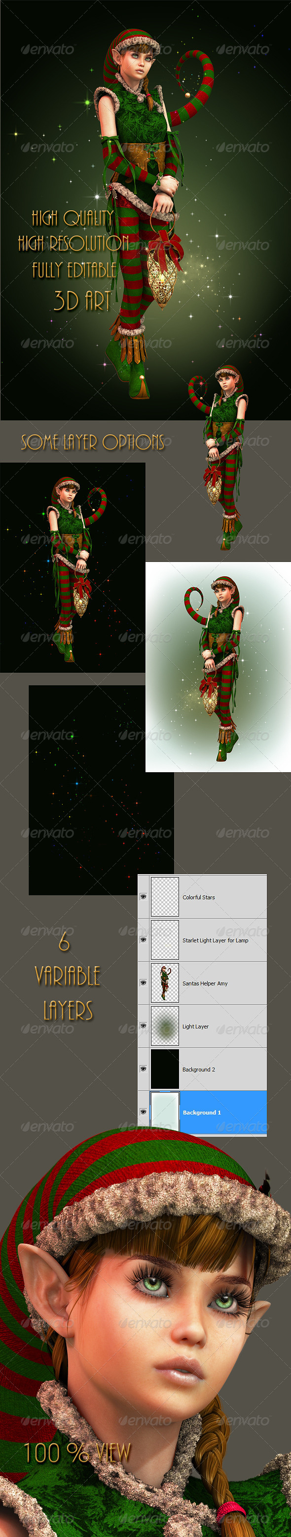 Santas Little Helper Amy - Characters Illustrations