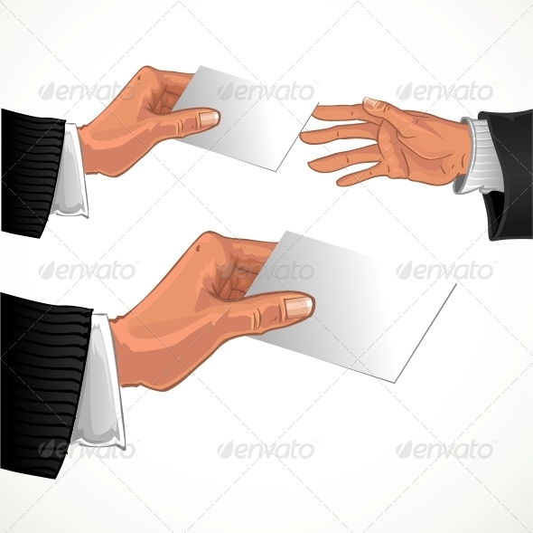Male Hand Pass White Glossy Business Card - Abstract Conceptual