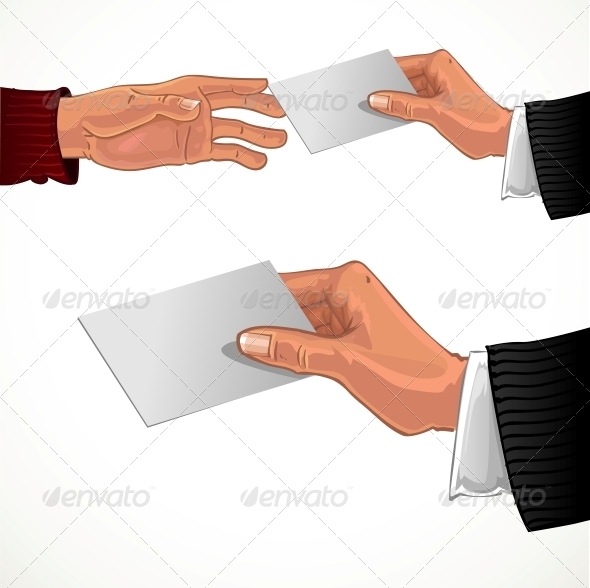 Male Hand Pass White Business Card - Abstract Conceptual